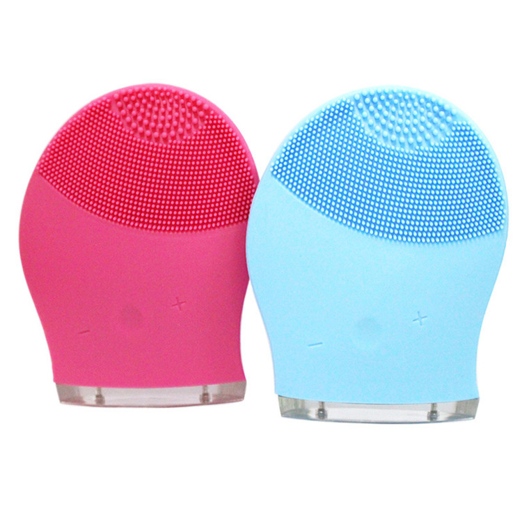 Electric Gentle Exfoliator and Sonic Cleansing Face Wash Brush, Pink/blue/red