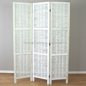 Home Funitutre 3 Part Room Divider Wooden White Wicker Screen