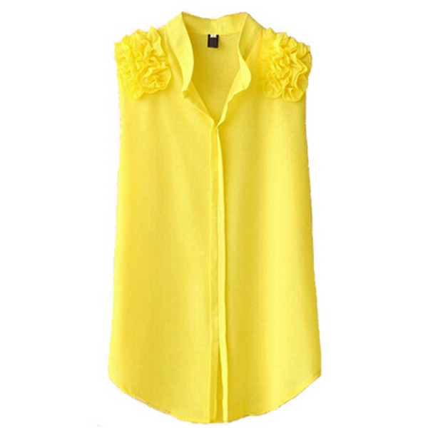 8e8089abb96b Get Quotations · Women blouses female shirts sleeveless blouse loose top  yellow white roupas blusa chiffon xxxl plus size