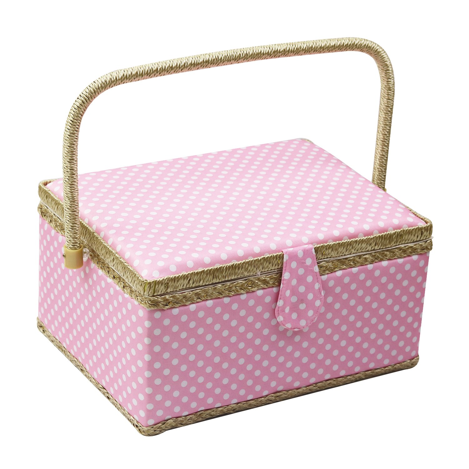 Wooden Sewing Storage Box Organizer with Sewing Supplies and Notions Handle and Insert Tray D/&D Large Sewing Basket with Sewing Kit Accessories