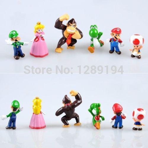 Lots 6 pcs Set Super Mario Bros Yoshi Luigi Toad 1 5 2 5 Action Figures