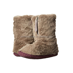 2018 New Design Women National Style Cotton Furry Slipper Boots with zipper