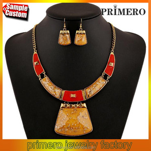 New Fashion Ethnic Charm Stone Gem Synthetic Amber Wedding Necklace Jewelry Sets