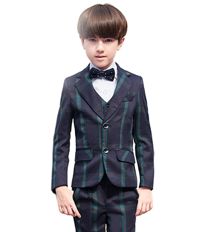 SK Studio Boys' Stripe 5 Pieces Classic Fit Formal Wedding Suits