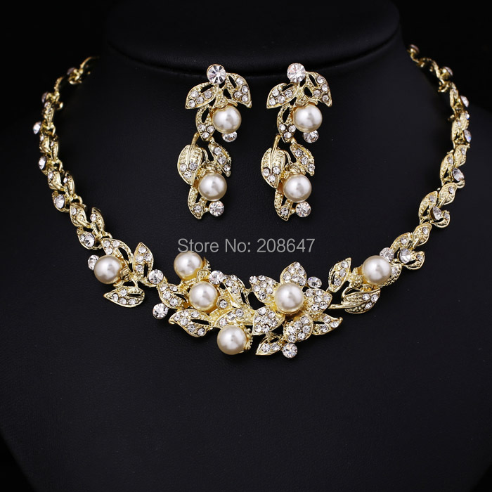 Cheap Pearl Necklace Sets: Hot Sale Pearl Set Wholesale Women Crystal Rhinestone