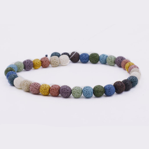 Colorful Round Lava Rock Stone Beads for Essential Oil Diffuser Jewelry