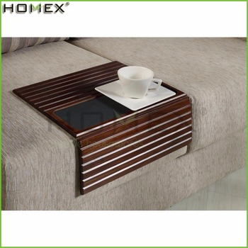 Bamboo And Wood Sofa Tray Lap Desk Arm Rest Table In Walnut Homex Fsc