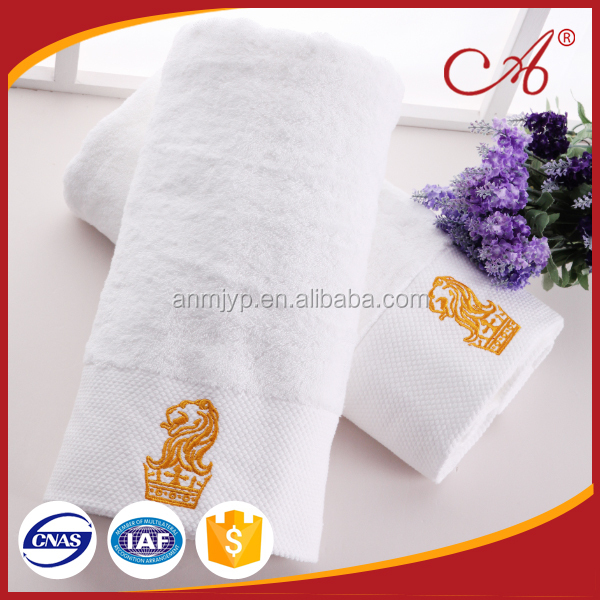 China wholesale customized 100% cotton embroidered logo bath towel suits