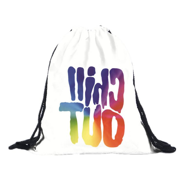 防水カスタムロゴプリント白スポーツナイロン巾着バックパックイベントバッグ