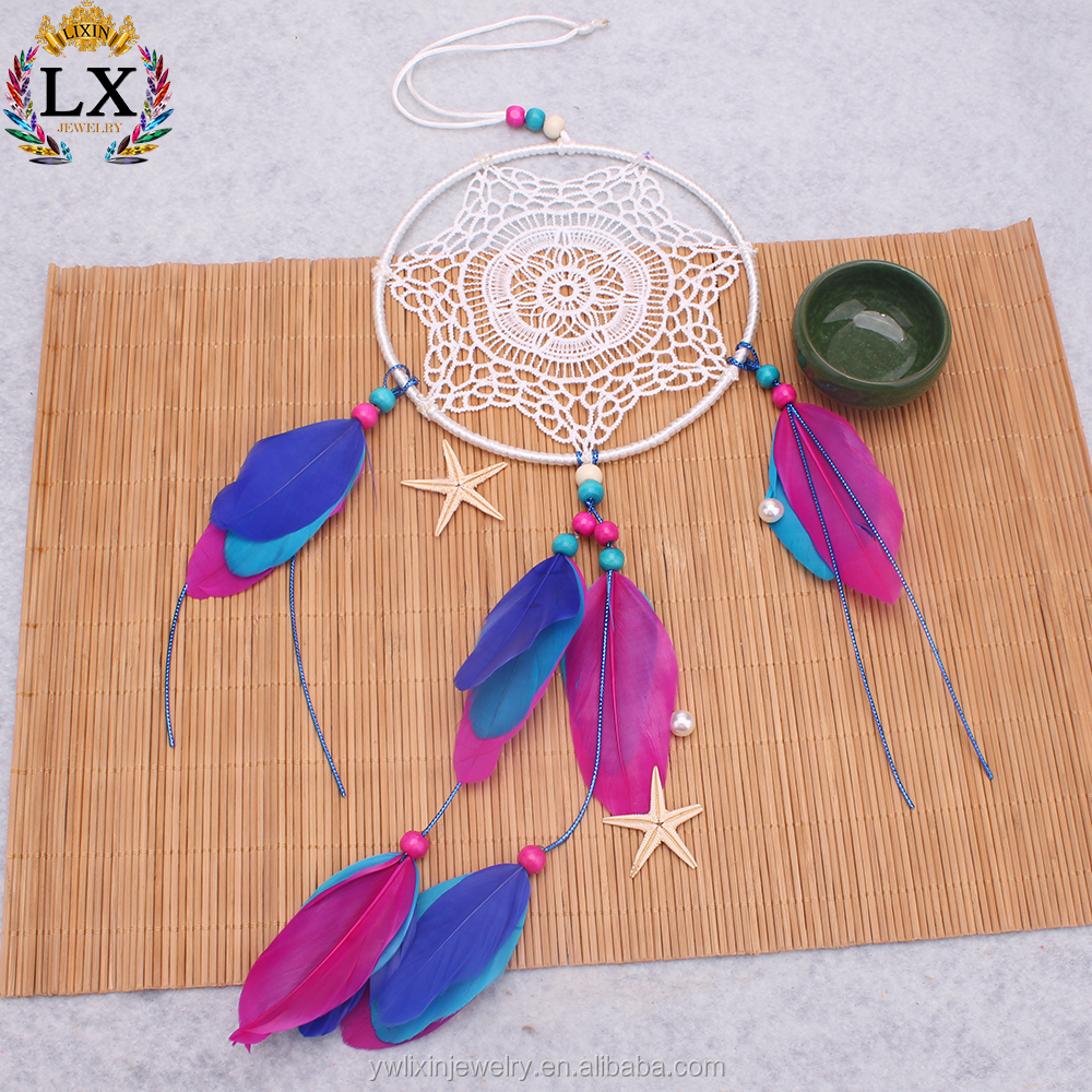 DLX-00025 handmade crafts wholesale bali dream catcher feather dream catcher wall hanging for home wedding bohemian decoration