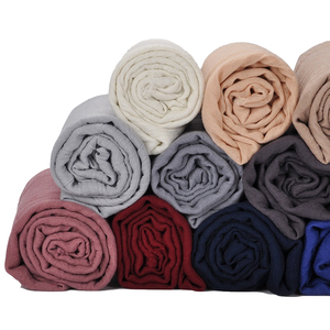 Wholesale Simple Solid Color Cotton Linen Fringe Muslim Ladies Large Size scarf hijab