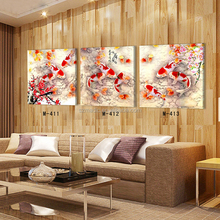 Fabric Painting Designs Images Koi Fish Oil Painting on Canvas 3 Piece Living Room Wall Giclee Art Dafen Oil Painting Dropship