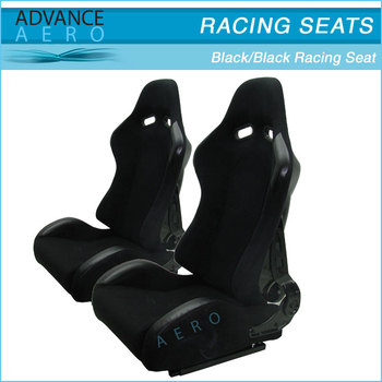 FOR MAZDA ALL MODELS BLACK CLOTH RACING BUCKET SEATS FIBER GLASS RECLINABLE SLIDER(PAIR)
