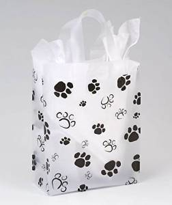 Bags & Bows by Deluxe 268-080410-PAWS Paws Frosted Shoppers - Case of 100