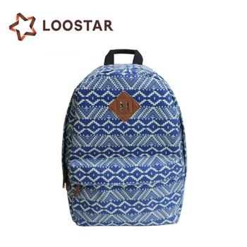 New Style Fashion Sky Blue Trendy Lady College Backpack Adult Girl Custom  Cotton Canvas Bulk University 91e88172ac43b