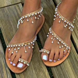 Women sandals 2019 new design hip fall summer shoes flat pearl beach string bead slippers ladies casual sandals plus size 35- 43
