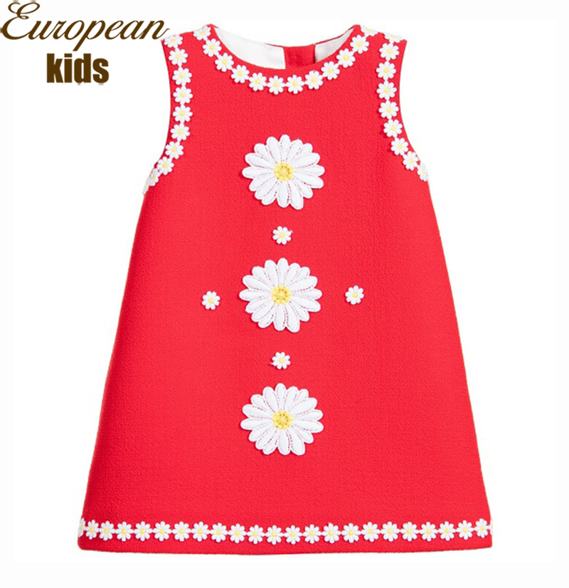New Girls Dresses Summer 2016 Brand Princess Dress Girl Lace Daisy Flower Kids Dresses for Girls