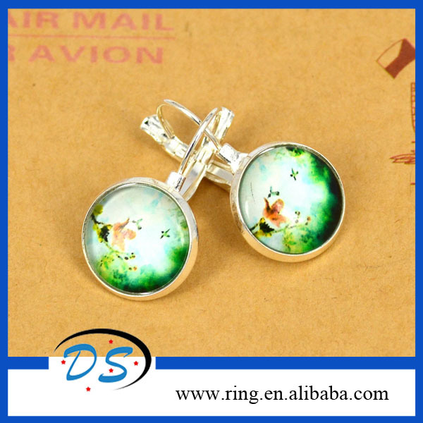 New Design Fashion Jewelry Silver Round Glass Spring Green Grass Flower Stud Earrings Vivid Butterfly Drop Earrings For Women