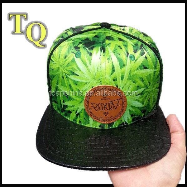 logo leather patch leaves sublimation printing back label snapback hats