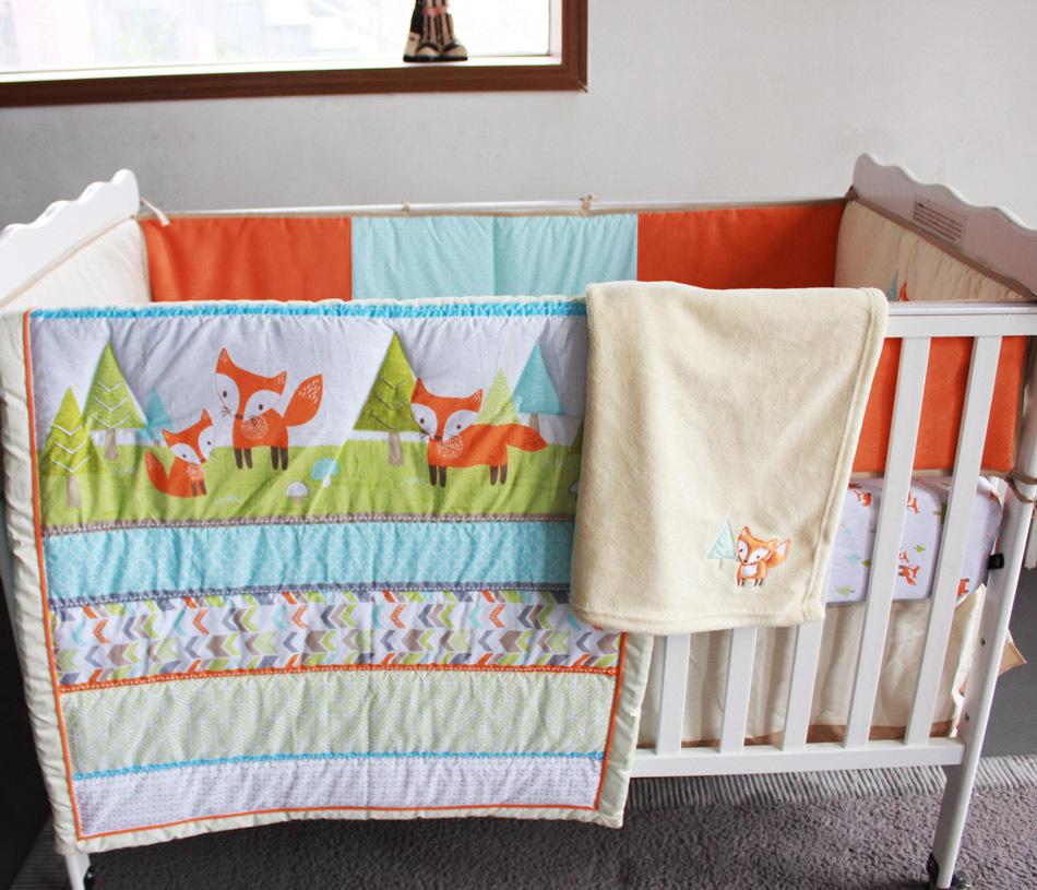 Embroidery 3d Prairie Fox Baby Bedding Set 7pcs 100