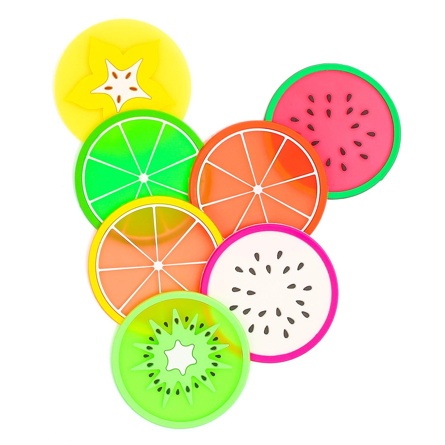 "Fruit Coaster, 7PCS 3.5"" Non Slip Coasters Heat Insulation Colorful Unique Slice Silicone Drink Cup Mat for Drinks Prevent Furniture and Tabletop by BmStar"