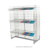Free Standing Wire Gridwall Display Rack With Wire Basket