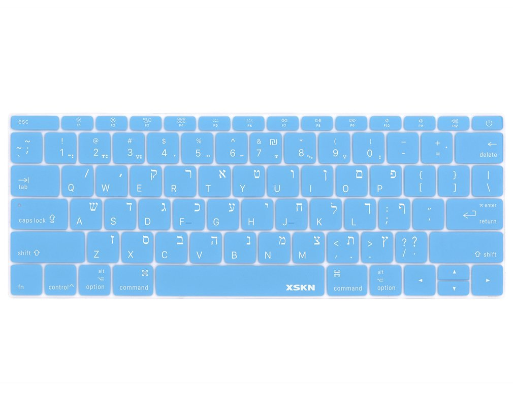 XSKN Hebrew Language Keyboard Cover Silicone Skin for MacBook 12 Inch with Retina Display US Layout - Blue