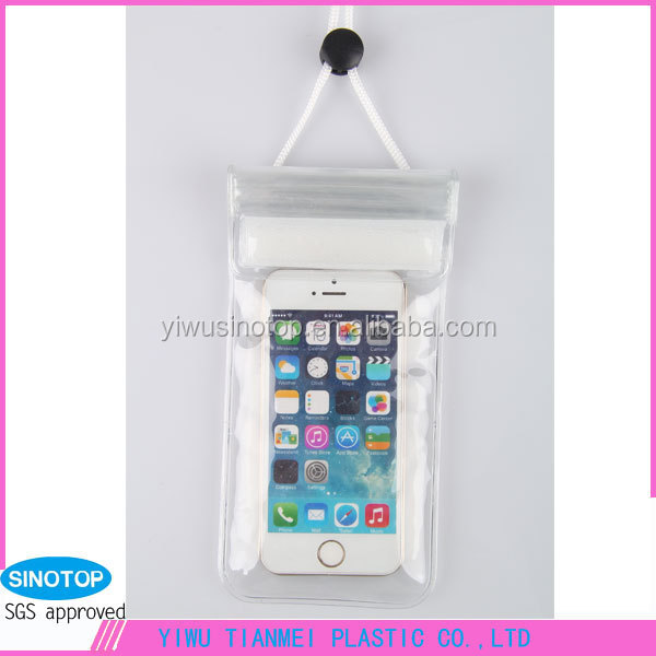 Clear transparent pvc waterproof mobile phone pouch bags with strap Dry Pouch Cases Cover