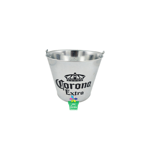 Corona galvanized custom tin silver ice bucket with holder beer cooler bucket china