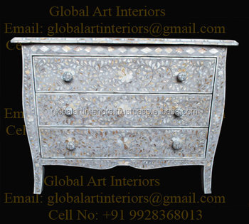 Light Grey MOP Inlay Chest Of Drawer