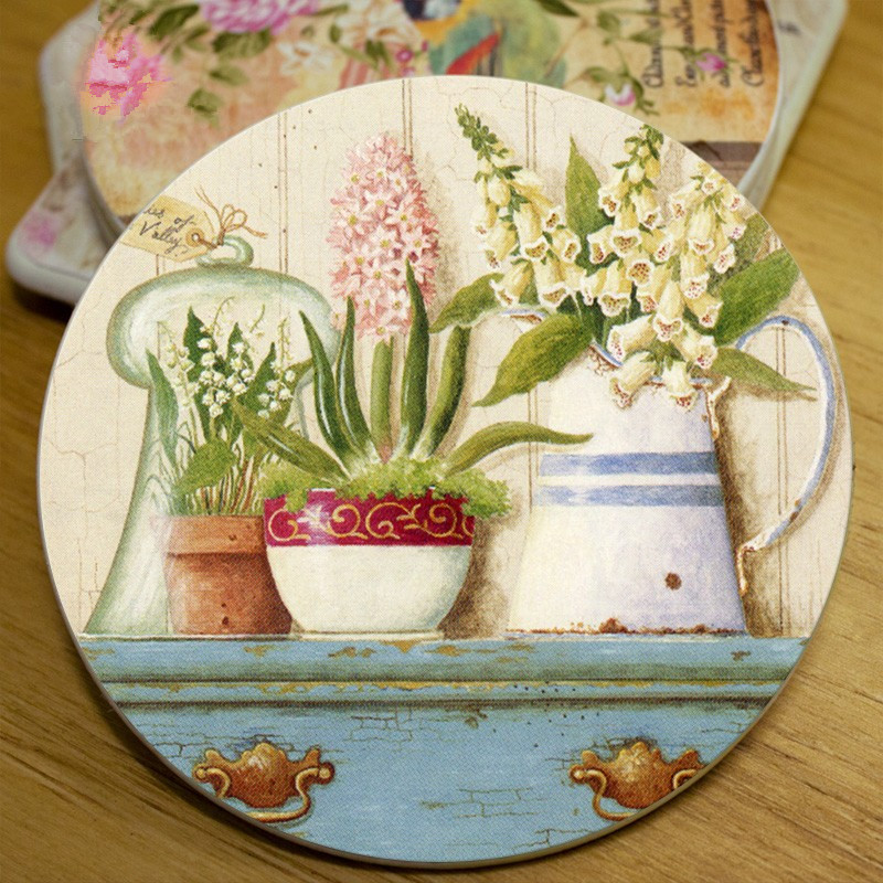 Free Shipping Pastoral Fashion Home Table Cup Mat Creative Colorfull Decor Coffee Drink Placemat Drinks Coasters(96pcs/lot)