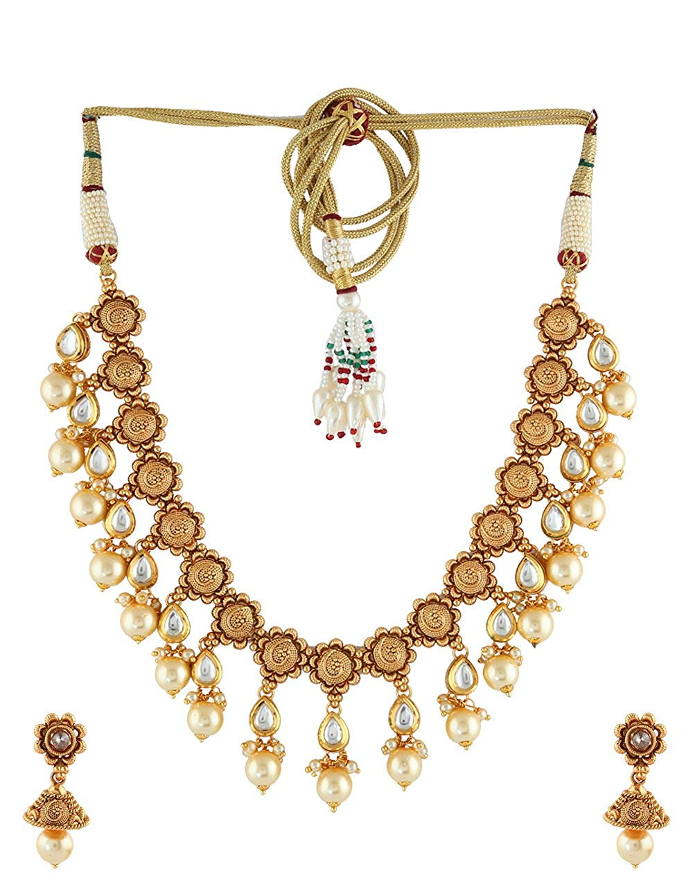 Anuradha Art Golden Finish Styled With Stone With Pearls Beads Designer Traditional Necklace Set For Women/Girls