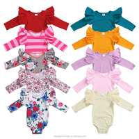 Bulk wholesale baby clothes Newborn Infant Baby Girls long sleeve ruffle romper with flying sleeve