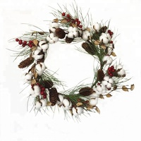 New 20 inches Cotton Pod Wreath With Red Berries Long pine cones Christmas Decoration