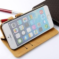 5.5 inch Premium Wallet Stand and Card Holder Flip Cover Leather Case for iPhone 6s Plus