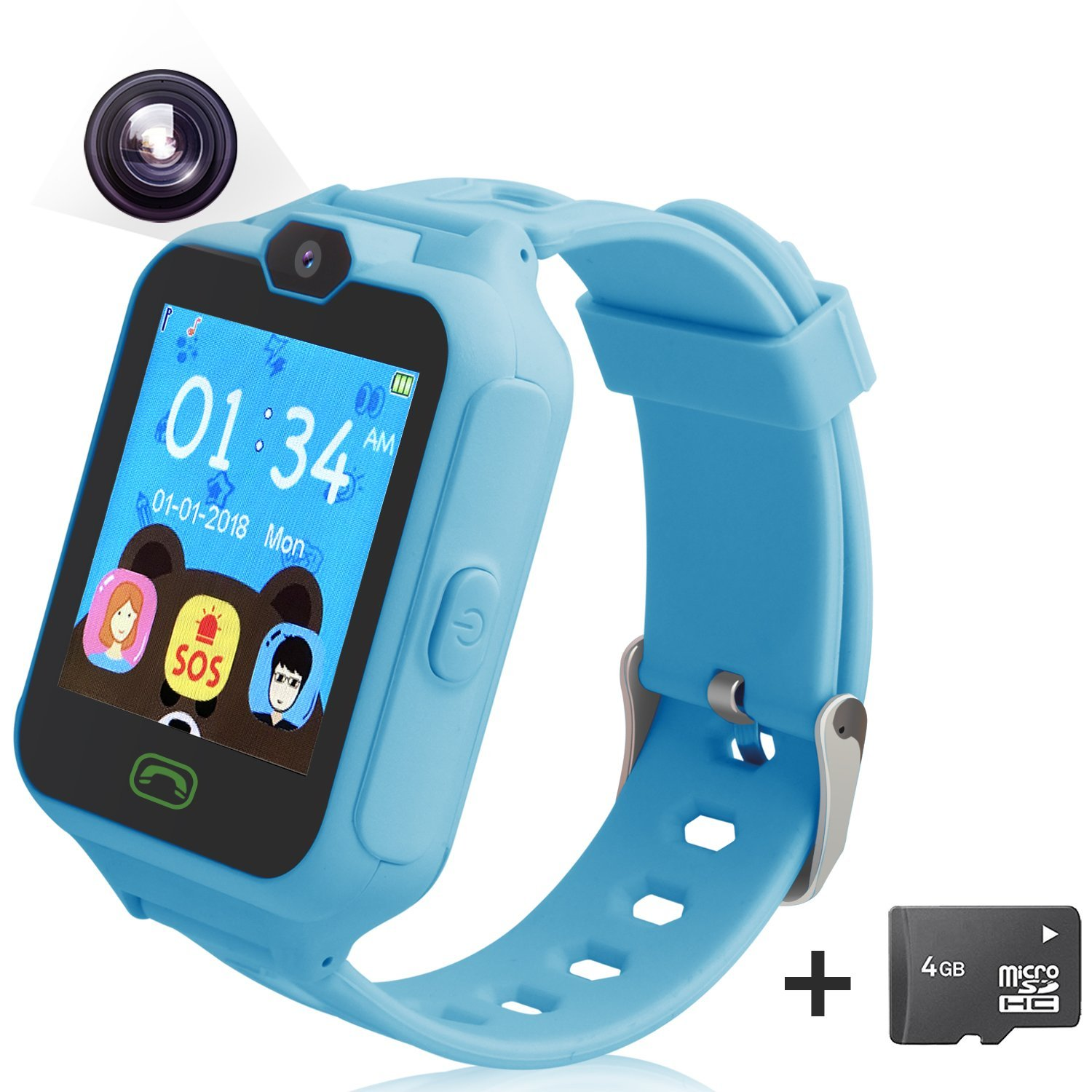 Smart Watch for Kids Unlocked Cell Phone Watch with [Camera] [Anti-lost SOS] [Alarm] [Games] Smart Watch Compatible for IOS iPhone and Android Includes 4G Memory Card(Blue)