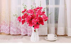 Nearly Natural Décor Artificial Silk Flowers In Plastic Vase (Rose Red)