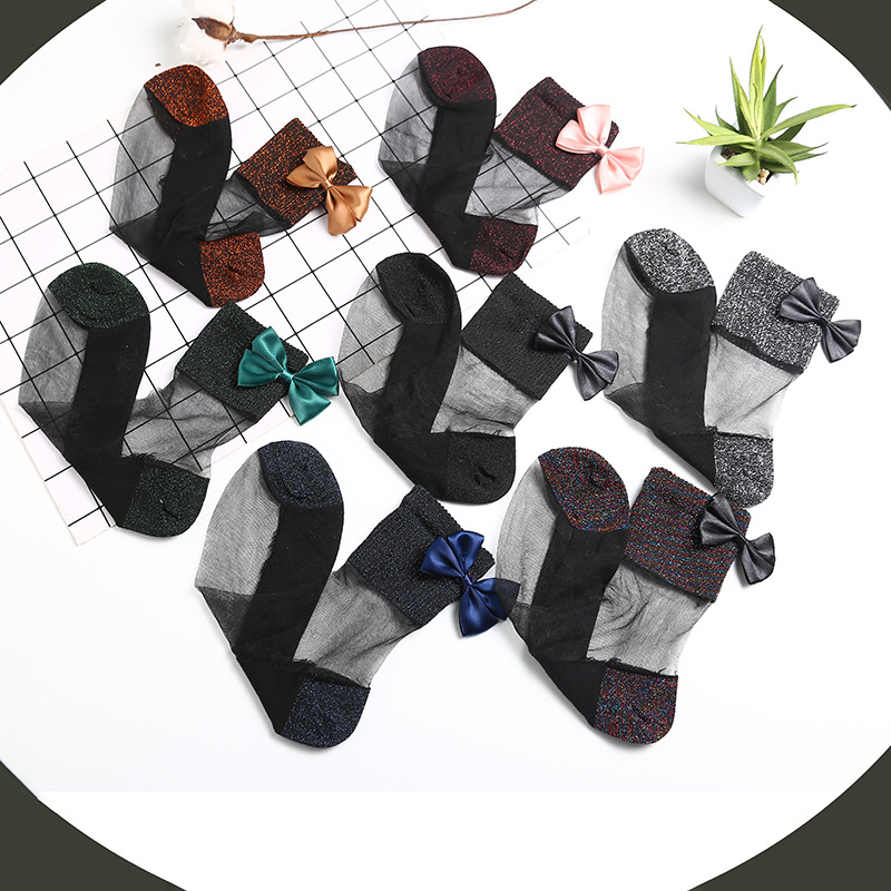 New Trending High Quality Cute Bowknot Women Tube Socks Costom Casual Ladies Stockings