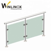Outdoor frameless stainless steel balustrade glass balcony railing designs