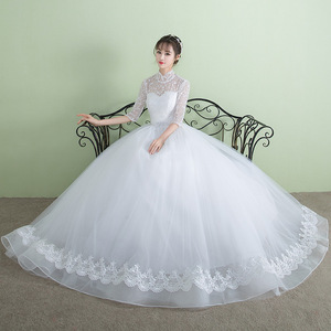ZHF335 Vintage High Neck Lace Long Sleeves Puffy Bridal Ball Gown Wedding Dress With Shawl