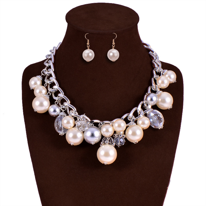 Multi layer Tassel Pendant Big Pearl Jewelry Sets Nigerian Wedding India Jewelry Set Bridal Chunky Chain Statement Necklace