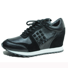 Handmade women footwear leather sneaker shoes ladies lace up flat casual sports shoes