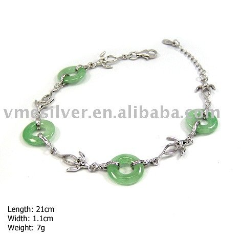925 Silver Bracelet without MOQ, Silver Bracelet with Jade (SL-117)