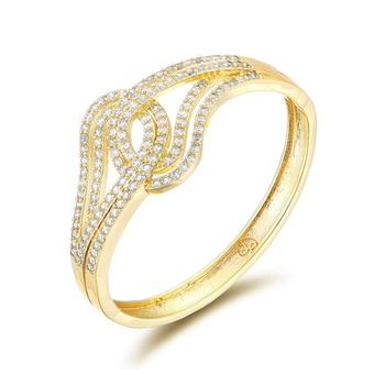ZOECOCO Factory Wholesale Women Jewelry 18k gold Plated Charm Zircon Bangle