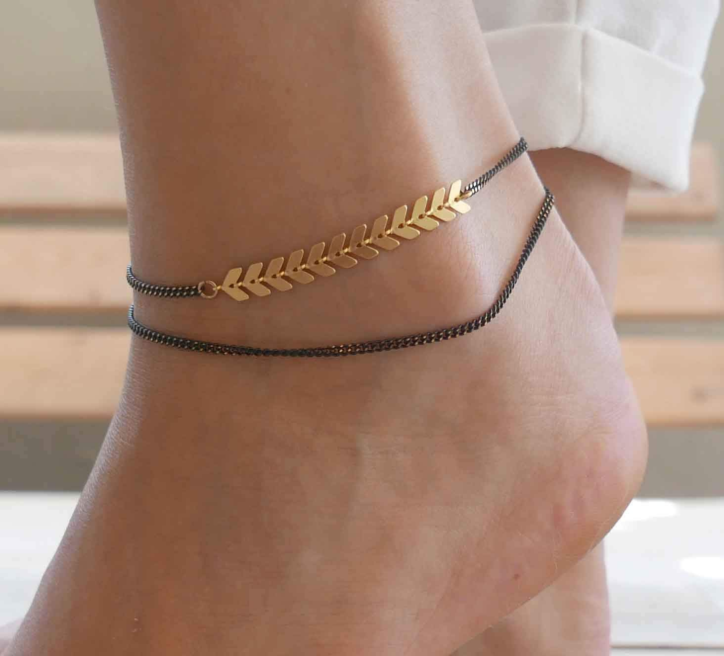Handmade Black Anklet For Women Set With Gold Arrow Chain By Galis Jewelry - Gold Ankle Bracelet For Women - Arrow Anklet - Arrow Ankle Bracelet