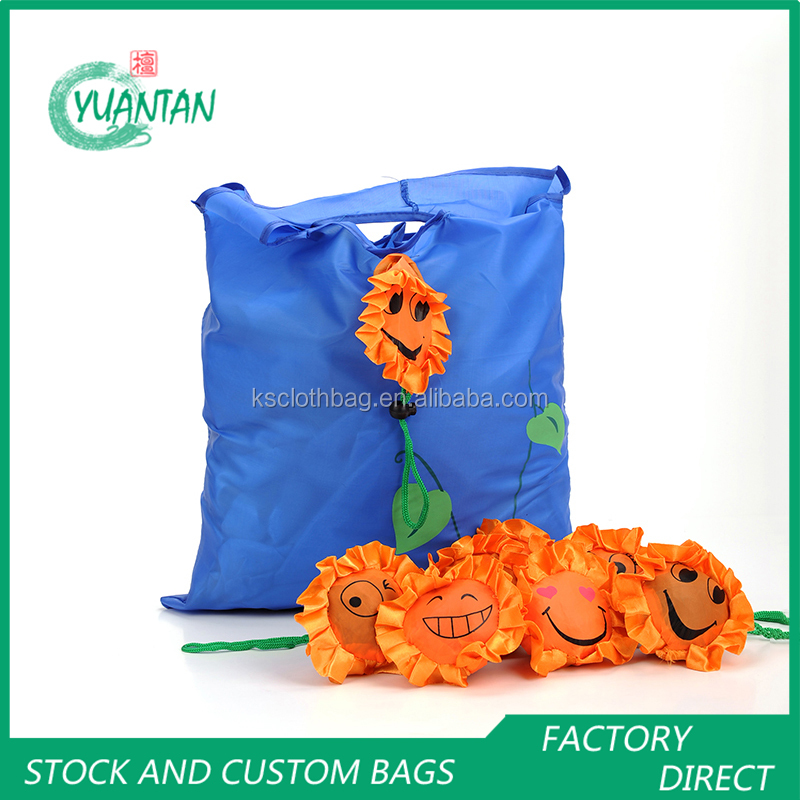 Cute eco foldable sunflower shopping bag reusable grocery recycle tote bag facotry custom logos