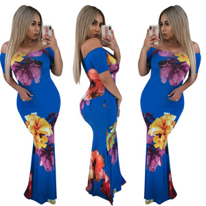 2018 winnerclothes Fish tail floral off shoulder printed asian summer clubwear brand dresses