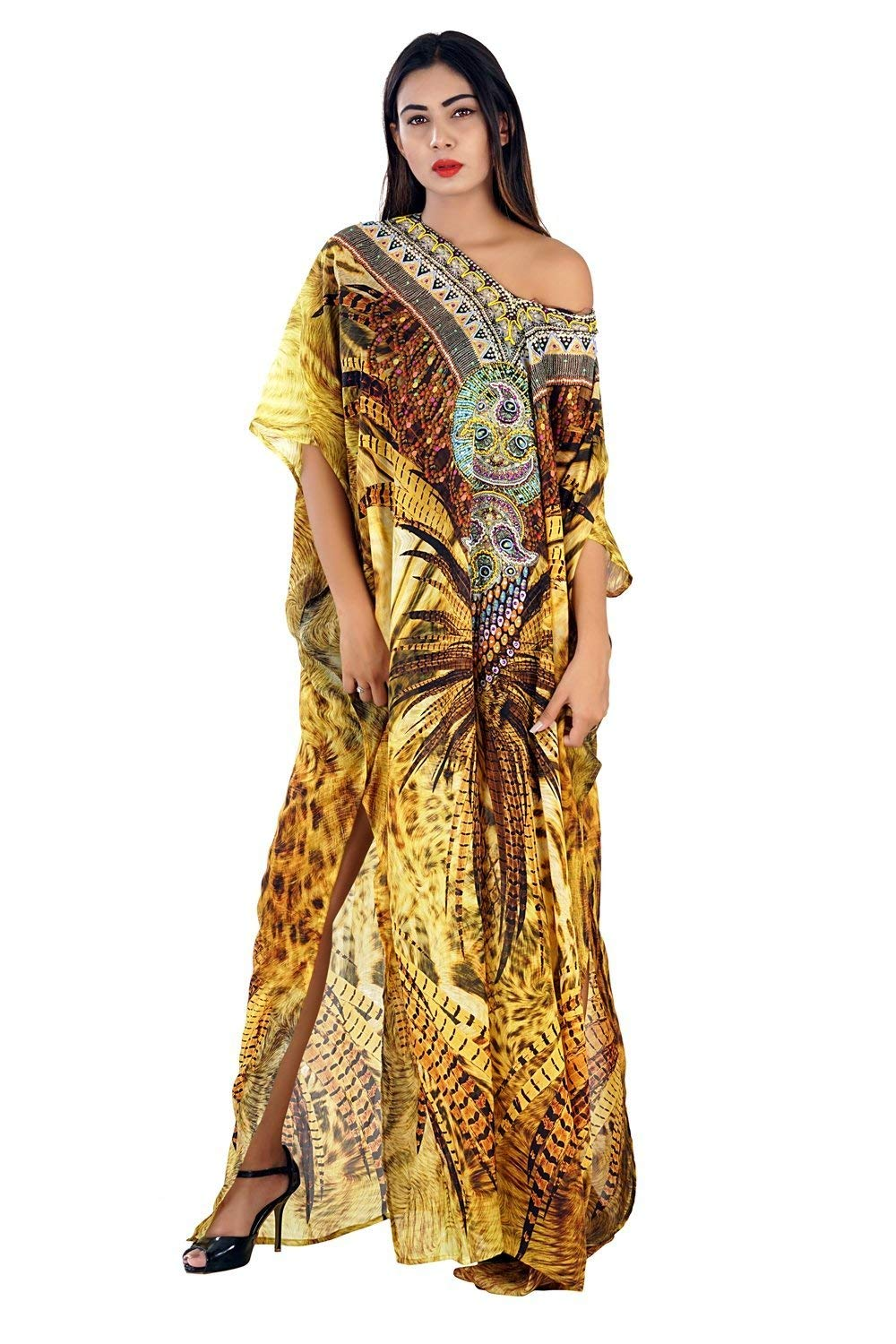 c84d2674e9bc8 Get Quotations · Silk kaftan online one piece dress on sale jeweled hand  made formal