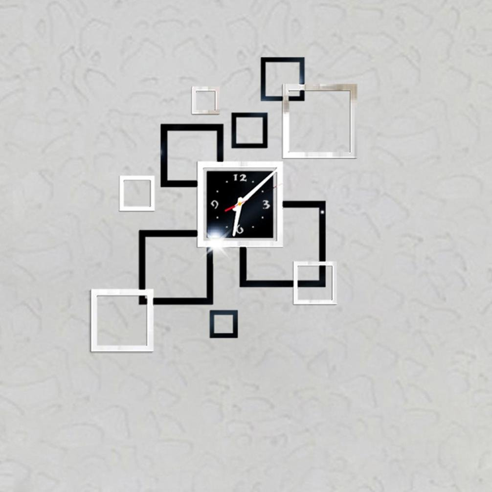 Rumas Removable Diy Acrylic 3D Mirror Wall Sticker Decorative Clock