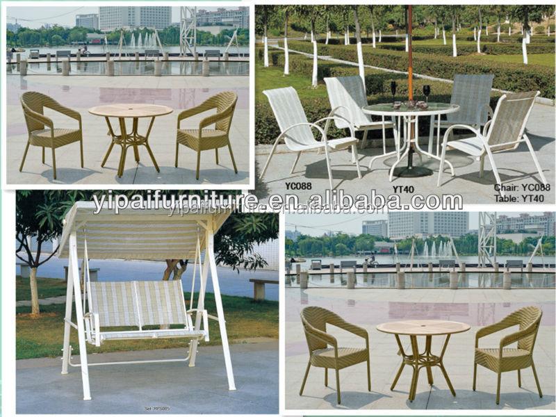 Gartenmöbel Set Glastisch Runder Tisch Sonnenschirm Lochtisch Yc088